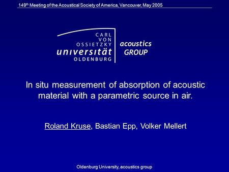 149 th Meeting of the Acoustical Society of America, Vancouver, May 2005 Oldenburg University, acoustics group In situ measurement of absorption of acoustic.