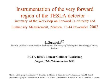Instrumentation of the very forward region of the TESLA detector – summary of the Workshop on Forward Calorimetry and Luminosity Measurement, Zeuthen,