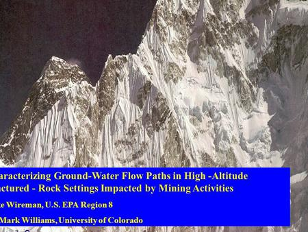 Characterizing Ground-Water Flow Paths in High -Altitude Fractured - Rock Settings Impacted by Mining Activities Mike Wireman, U.S. EPA Region 8 Dr. Mark.