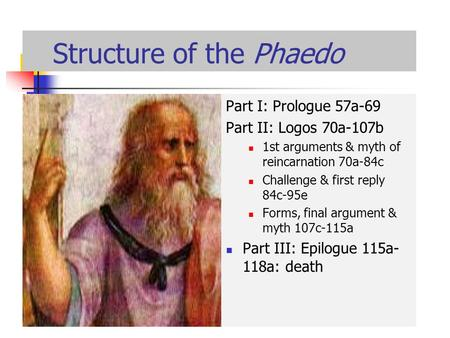 Structure of the Phaedo Part I: Prologue 57a-69 Part II: Logos 70a-107b 1st arguments & myth of reincarnation 70a-84c Challenge & first reply 84c-95e Forms,