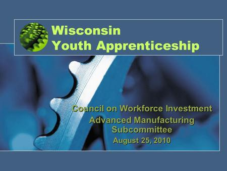 Wisconsin Youth Apprenticeship Council on Workforce Investment Advanced Manufacturing Subcommittee August 25, 2010.