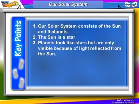 1.Our Solar System consists of the Sun and 9 planets 2.The Sun is a star 3.Planets look like stars but are only visible because of light reflected from.