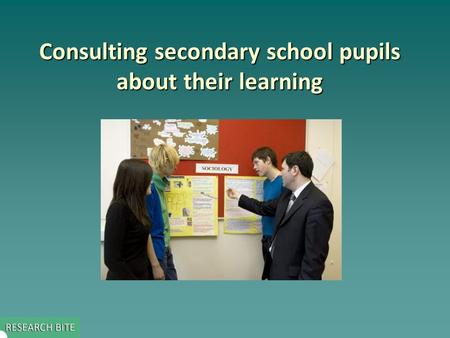 Consulting secondary school pupils about their learning.
