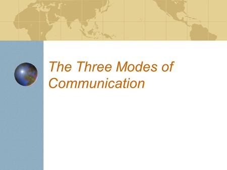 The Three Modes of Communication. The Three Modes: Modes of Communication recognized by New York and national standards: Interpersonal Presentational.