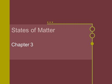 States of Matter Chapter 3. States of Matter Physical forms in which a substance can exist Matter is always in motion, but the speed of these particles.