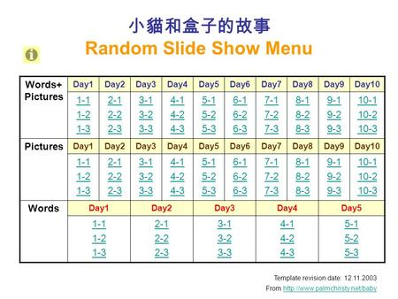 小貓和盒子的故事 Random Slide Show Menu Template revision date: 12.11.2003 From  Words+ Pictures.