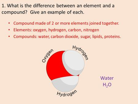 1. What is the difference between an element and a compound