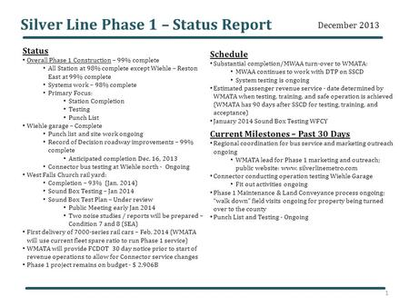 Silver Line Phase 1 – Status Report Status Overall Phase 1 Construction – 99% complete All Station at 98% complete except Wiehle – Reston East at 99% complete.