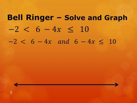 Bell Ringer – Solve and Graph 1. Solving Linear Test Review Test on Friday, 11/01/13 2.