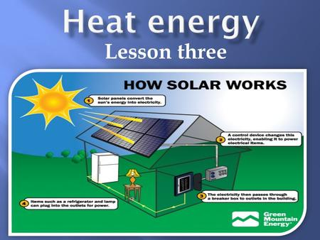 Lesson three. 1. The sun. 2. friction.  It is a method to generate heat as a principle of converting the kinetic energy (mechanical energy) into heat.