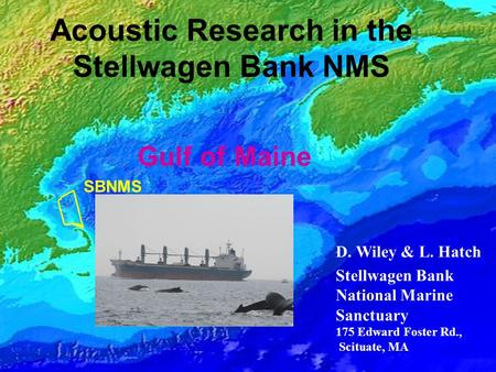 Georges Bank Gulf of Maine SBNMS Acoustic Research in the Stellwagen Bank NMS D. Wiley & L. Hatch Stellwagen Bank National Marine Sanctuary 175 Edward.
