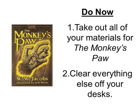 literary techniques used to create tension in the monkeys paw Open document below is a free excerpt of monkey's paw literary devices essay from anti essays, your source for free research papers, essays, and term paper examples.