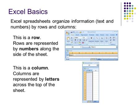 Excel Basics This is a row. Rows are represented by numbers along the side of the sheet. This is a column. Columns are represented by letters across the.