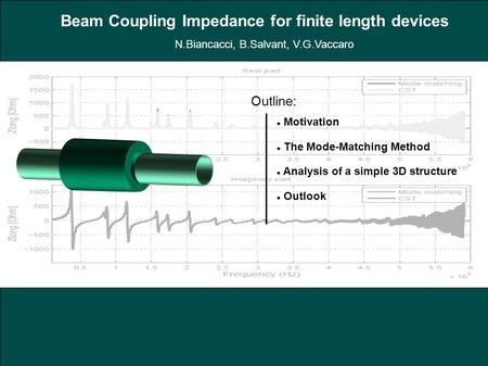 Outline: Motivation The Mode-Matching Method Analysis of a simple 3D structure Outlook Beam Coupling Impedance for finite length devices N.Biancacci, B.Salvant,