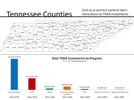Tennessee Counties Total THDA Investments by Program Click on a county's name to learn more about its THDA investments. (Since 1974) (Since 1987) (Since.