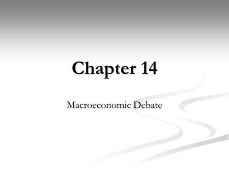 Chapter 14 Macroeconomic Debate. Views Activists – do something Economy is unstable Must use Macroeconomic Policy Activist favor Discretionary Monetary.