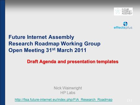 [1] Future Internet Assembly Research Roadmap Working Group Open Meeting 31 st March 2011 Draft Agenda and presentation templates