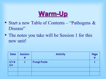 "Warm-Up Start a new Table of Contents – ""Pathogens & Disease"" The notes you take will be Session 1 for this new unit! DateSession # ActivityPage # 3/3."