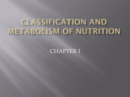 CHAPTER I.  Nutrition is an organic substance needed for normal functioning of the organism's body system, growth, health maintenance.  Nutrients obtained.