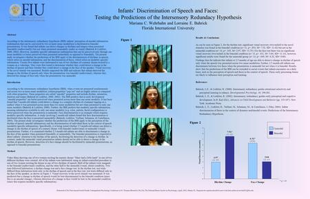 Infants' Discrimination of Speech and Faces: Testing the Predictions of the Intersensory Redundacy Hypothesis Mariana C. Wehrhahn and Lorraine E. Bahrick.