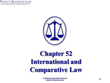 1 Chapter 52 International and Comparative Law. 2 Introduction International Law. Body of law - formed as a result of international customs, treaties,