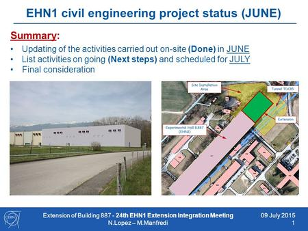 09 July 2015 1 EHN1 civil engineering project status (JUNE) Summary: Updating of the activities carried out on-site (Done) in JUNE List activities on going.