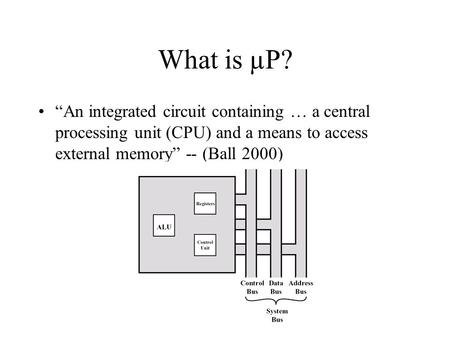 "What is µP? ""An integrated circuit containing … a central processing unit (CPU) and a means to access external memory"" -- (Ball 2000)"