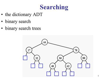 1 Searching the dictionary ADT binary search binary search trees.