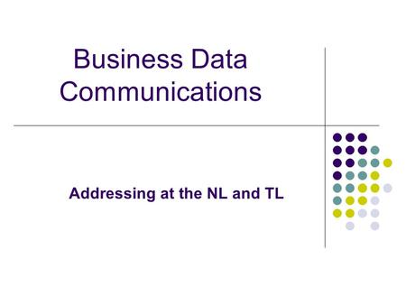 Business Data Communications Addressing at the NL and TL.