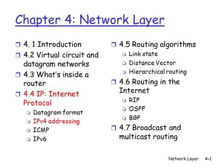 Network Layer4-1 Chapter 4: Network Layer r 4. 1 Introduction r 4.2 Virtual circuit and datagram networks r 4.3 What's inside a router r 4.4 IP: Internet.