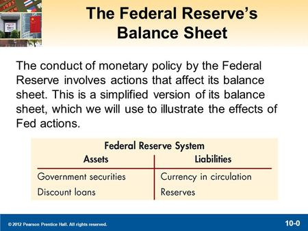 © 2012 Pearson Prentice Hall. All rights reserved. 10-0 The Federal Reserve's Balance Sheet The conduct of monetary policy by the Federal Reserve involves.