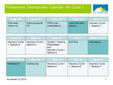 November 12, 20151 Professional Development Calendar: HU Cycle 1 Aug. 10Aug. 17Aug. 24Aug. 31Sept. 7 First week check- ins Campus specific PD PGP cycle.