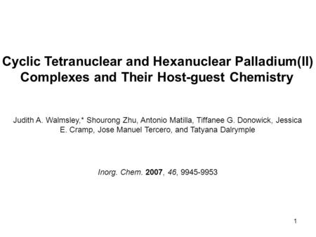1 Cyclic Tetranuclear and Hexanuclear Palladium(II) Complexes and Their Host-guest Chemistry Judith A. Walmsley,* Shourong Zhu, Antonio Matilla, Tiffanee.