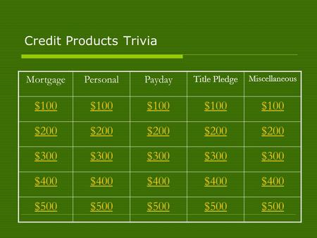 Credit Products Trivia MortgagePersonalPayday Title Pledge Miscellaneous $100 $200 $300 $400 $500.