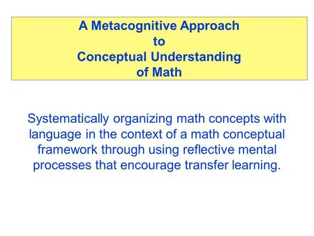 A Metacognitive Approach to Conceptual Understanding of Math Systematically organizing math concepts with language in the context of a math conceptual.