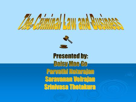  Terms and Procedures  Constitutional Issues  Specific Crimes  Conclusion.