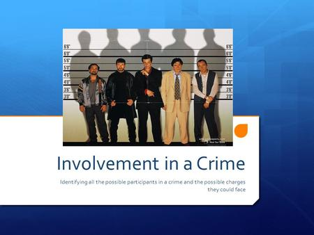 Involvement in a Crime Identifying all the possible participants in a crime and the possible charges they could face.
