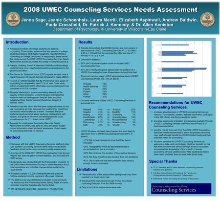 1.Increase advertisement of UWEC Counseling Services on campus. For example, posters, website information, and signs in the Old Library and dorms would.