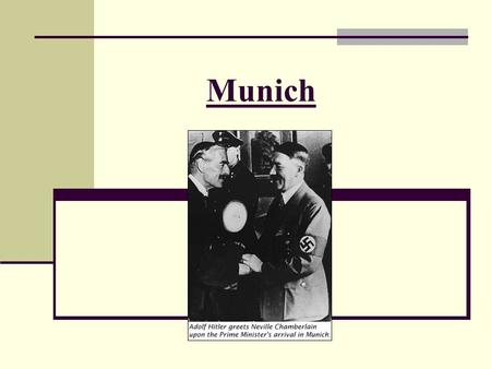 Munich. Timeline of appeasement Sep 1931 Japanese invasion of Manchuria 1932-4 Failure of World Disarmament Conference June 1935 Anglo-German Naval Agreement.