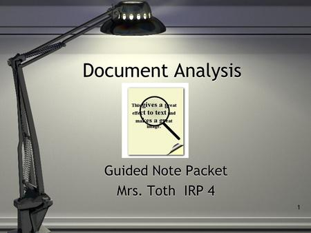 1 Document Analysis Guided Note Packet Mrs. Toth IRP 4 Guided Note Packet Mrs. Toth IRP 4.