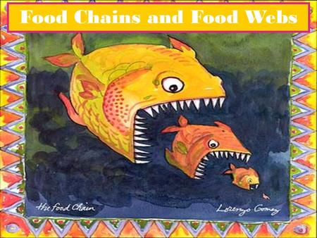 Food Chains and Food Webs. A description of the feeding sequence of one set of organisms in an ecosystem.