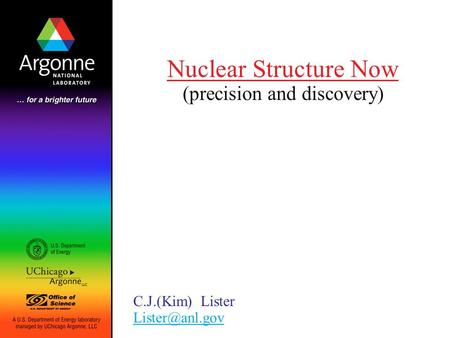 Nuclear Structure Now (precision and discovery) C.J.(Kim) Lister