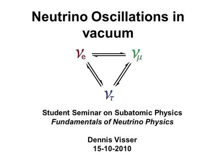 Neutrino Oscillations in vacuum Student Seminar on Subatomic Physics Fundamentals of Neutrino Physics Dennis Visser 15-10-2010.