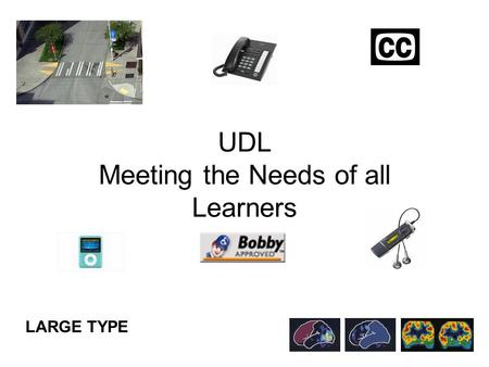 UDL Meeting the Needs of all Learners LARGE TYPE.
