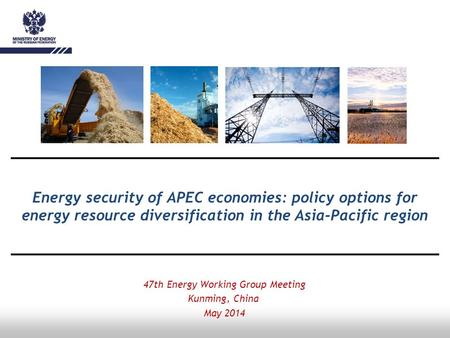Energy security of APEC economies: policy options for energy resource diversification in the Asia-Pacific region 47th Energy Working Group Meeting Kunming,