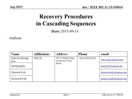 Submission doc.: IEEE 802.11-15/1096r0 Sep 2015 John Son et al., WILUSSlide 1 Recovery Procedures in Cascading Sequences Date: 2015-09-14 Authors: NameAffiliationsAddressPhoneemail.