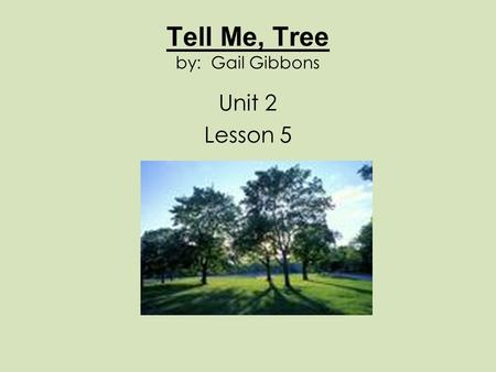 Tell Me, Tree by: Gail Gibbons Unit 2 Lesson 5. trunks The main parts of trees where the branches grow out The children hid behind the trunks of the tress.
