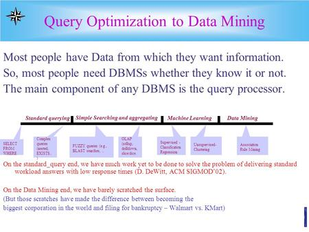 Query Optimization to Data Mining Most people have Data from which they want information. So, most people need DBMSs whether they know it or not. The main.