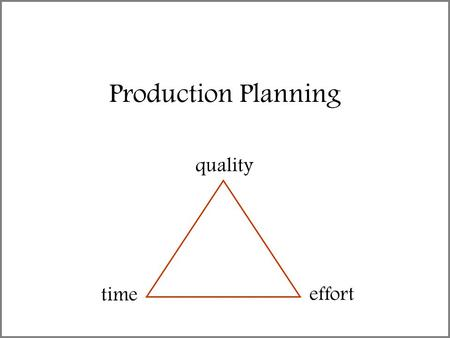"Production Planning quality time effort. The old saying goes … ""On a given project you can have any two of these – high quality, on time or on budget."