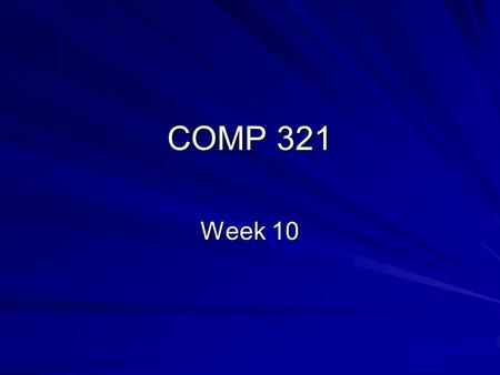 COMP 321 Week 10. Overview Using Beans in JSP Expression Language JSTL Lab 10-1 Introduction Exam Review.